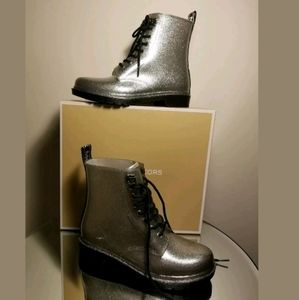 Michael Kors Silver Rain Boots Size 9